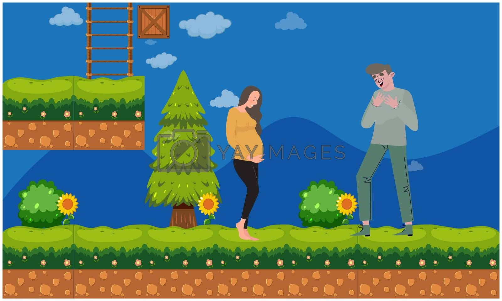 man walking with her pregnant wife in the garden by Aanav Creations