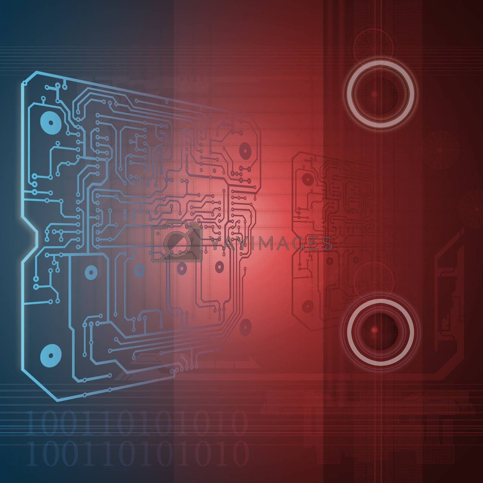 technology background in blue end red