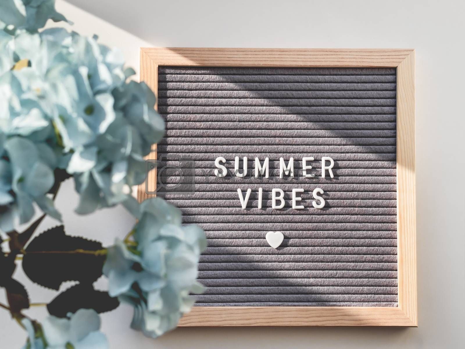 Letter board with words SUMMER VIBES and heart. Top view on flat lay board with quote with symbol of love and romance. Summer sun shining on white background and blue flowers in bloom.