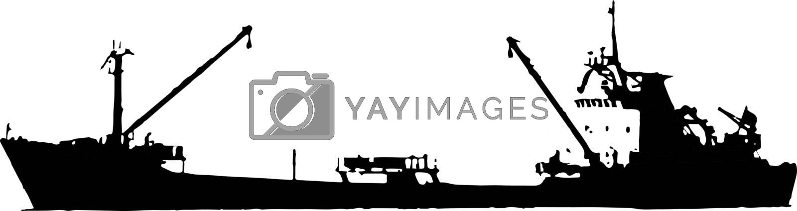 silhouette of boat on the sea