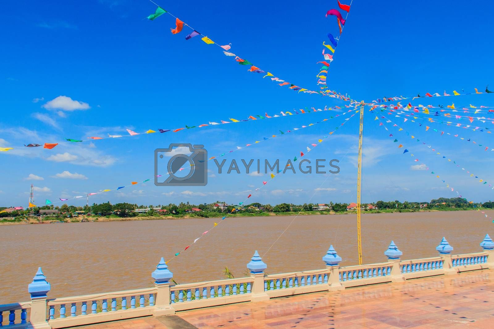 Mekong Riverside Walking Street flag decoration at Nong Khai, Thai-Lao Border. Nong Khai is the northernmost of the northeastern (Isan) provinces (changwat) of Thailand.