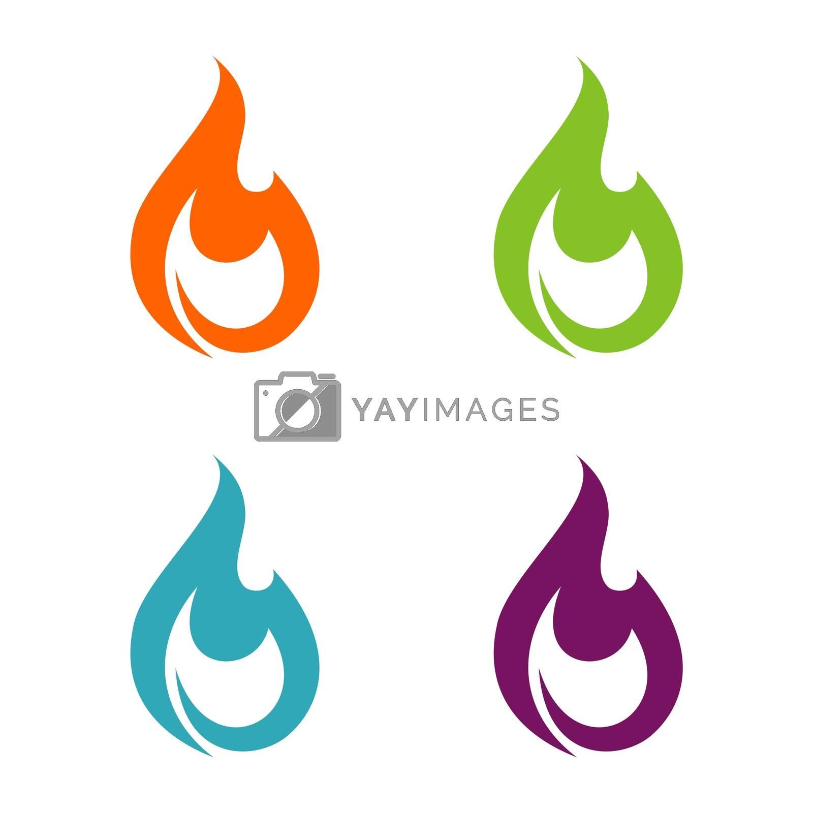Set Fire Flammable Logo Template Illustration Design. Vector EPS 10.