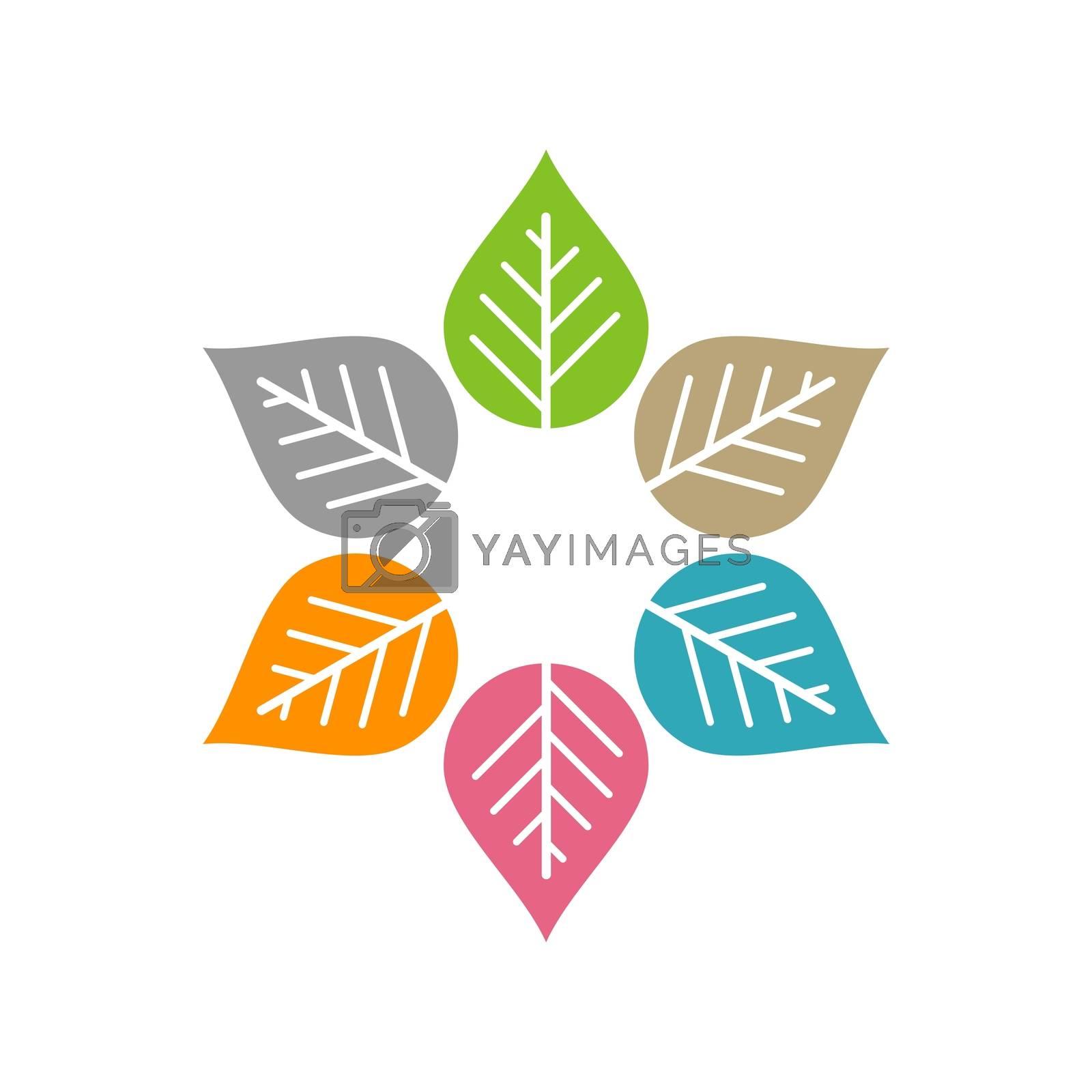 Colorful Flower for Spa Logo Illustration Design. Vector EPS 10.