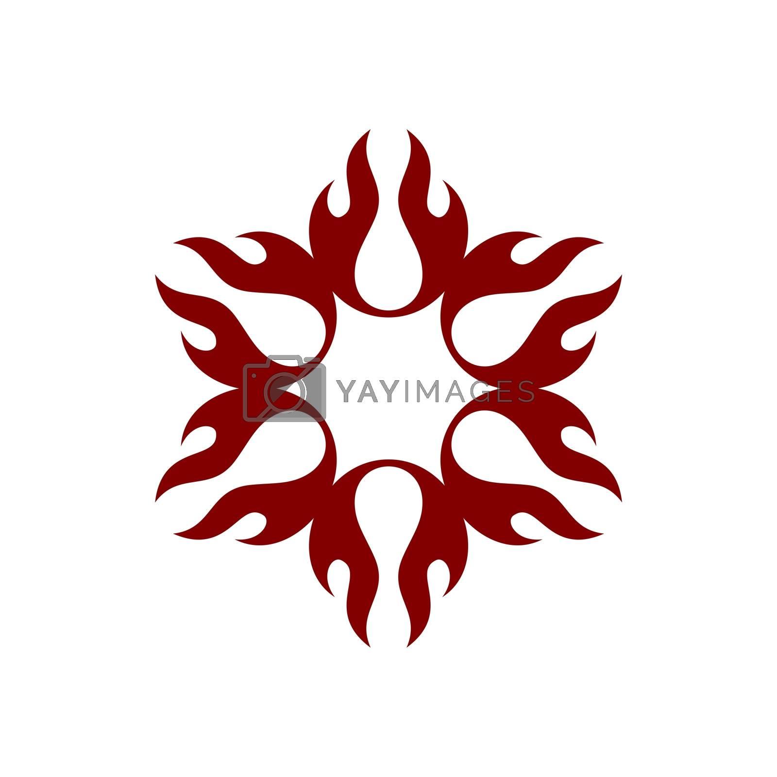 Red Flame Fire Flower Logo Template Illustration Design. Vector EPS 10.