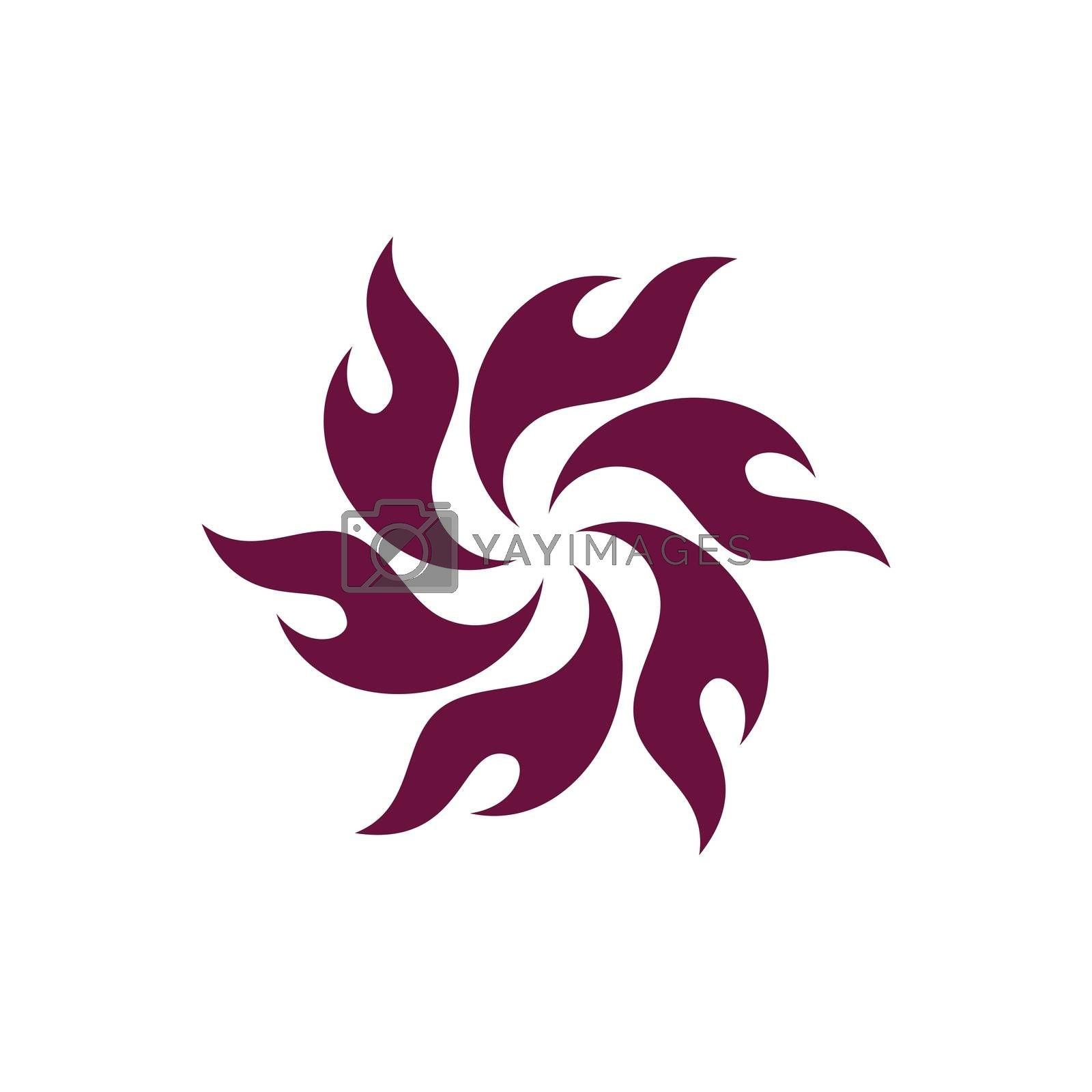 Burgundy Color Flame Flower Logo Template Illustration Design. Vector EPS 10.