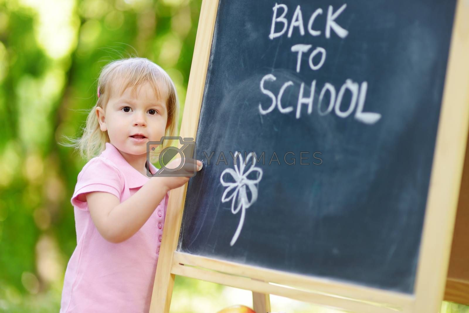 Adorable little girl feeling excited about going to preschool for the first time