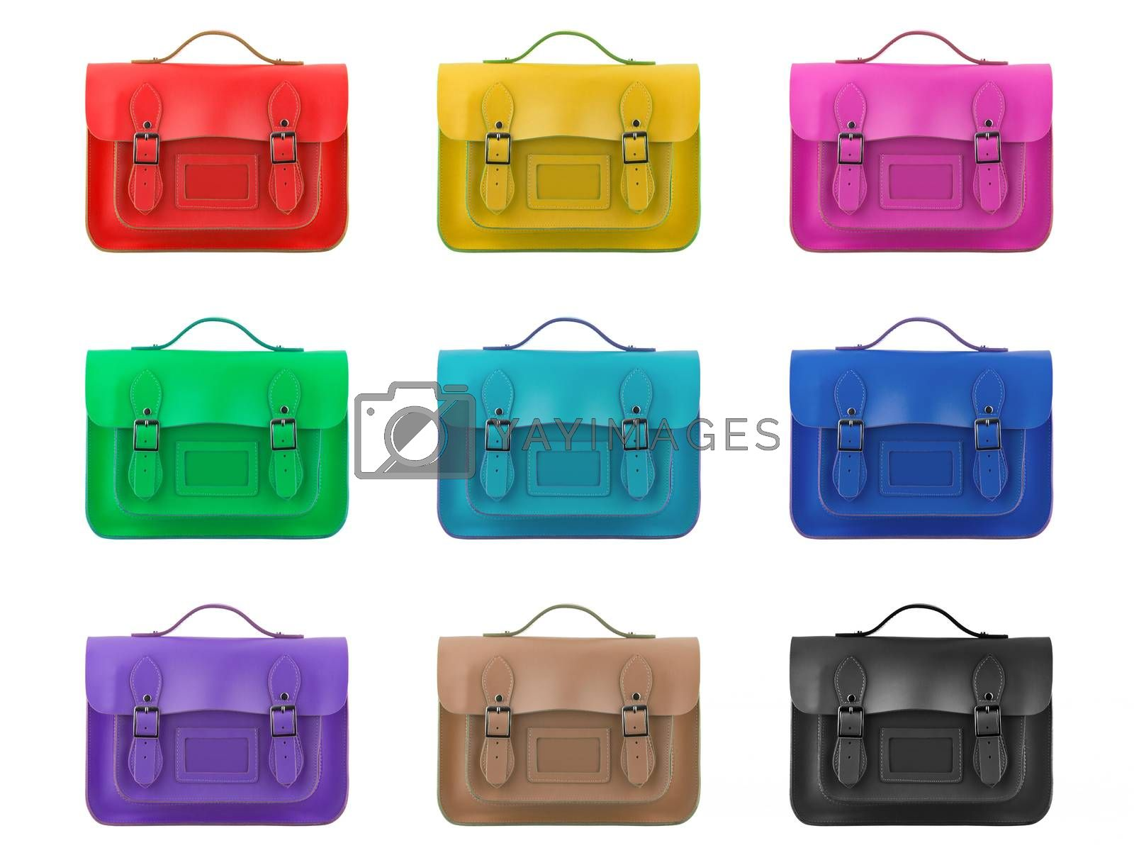 coloured satchels on a white background