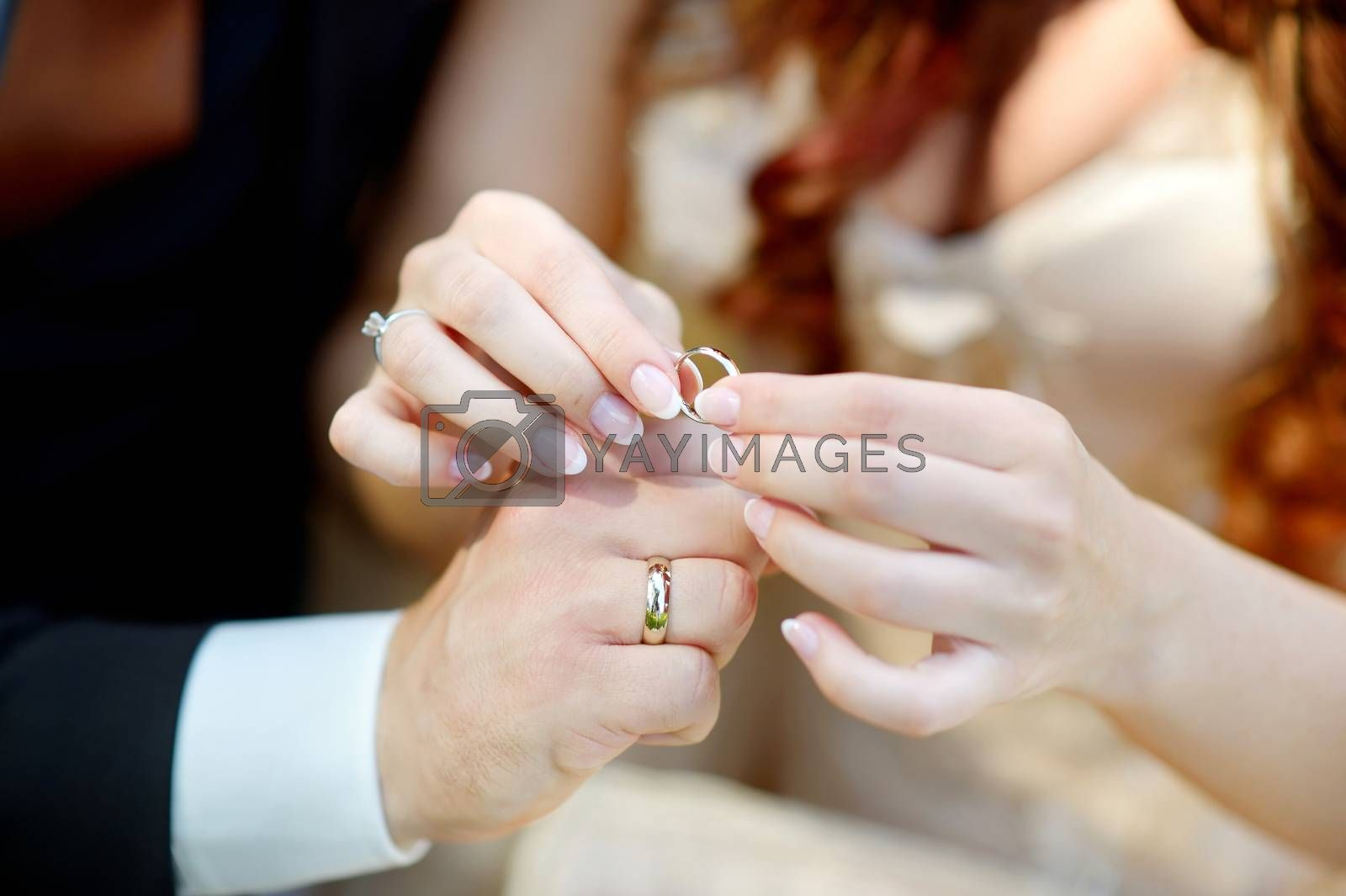 Young bride and groom holding their wedding rings