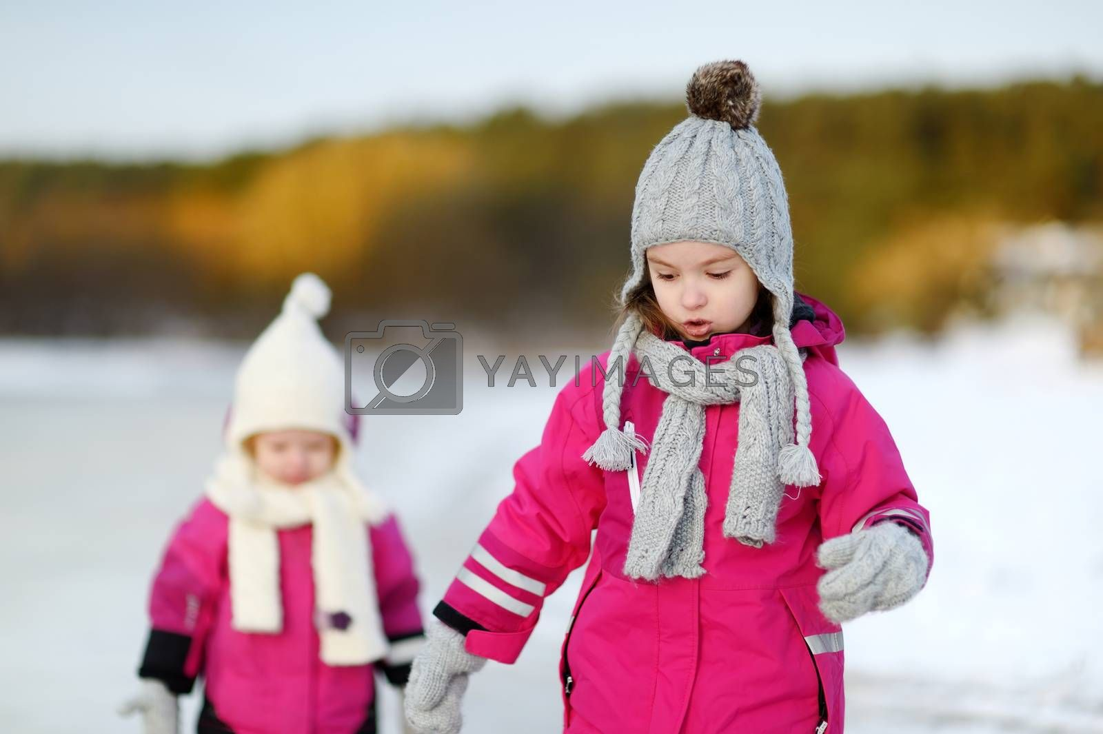 Royalty free image of Two little sisters having fun on snowy winter day by maximkabb