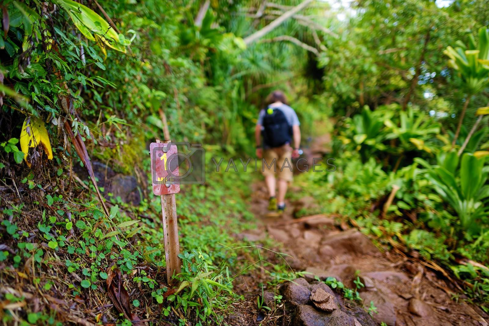 One mile sign on Kalalau trail in Kauai, Hawaii