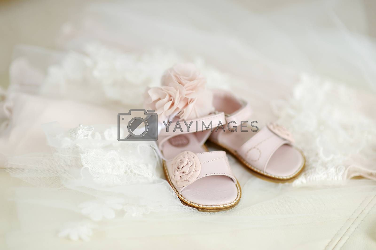 Royalty free image of Baby girl christening shoes by maximkabb