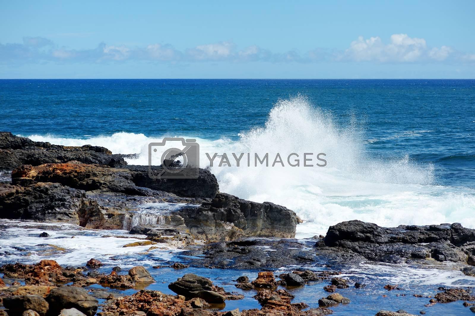 Ocean waves crashing on rocks, Kauai, Hawaii