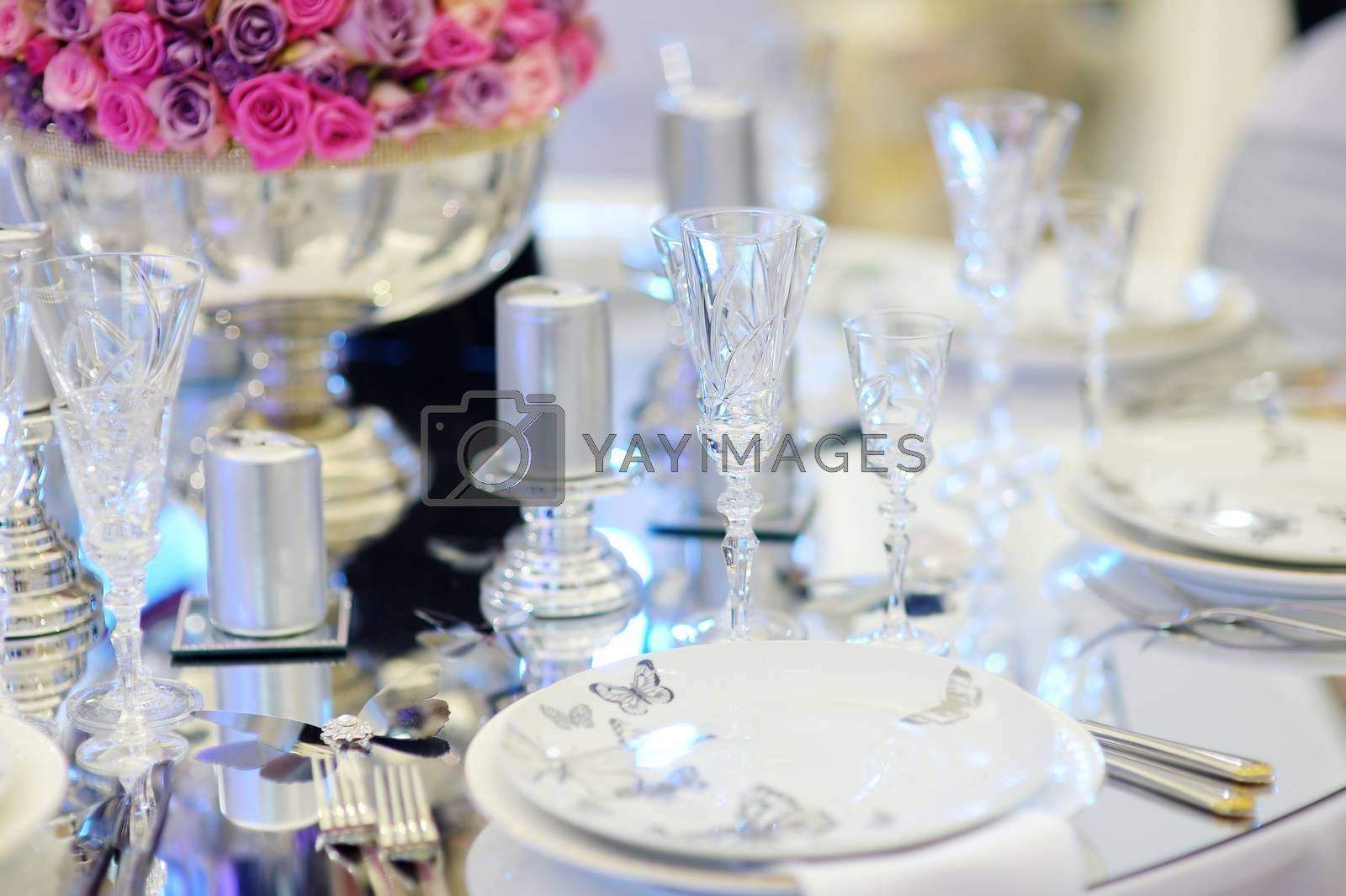 Table set for an event party or wedding reception by maximkabb