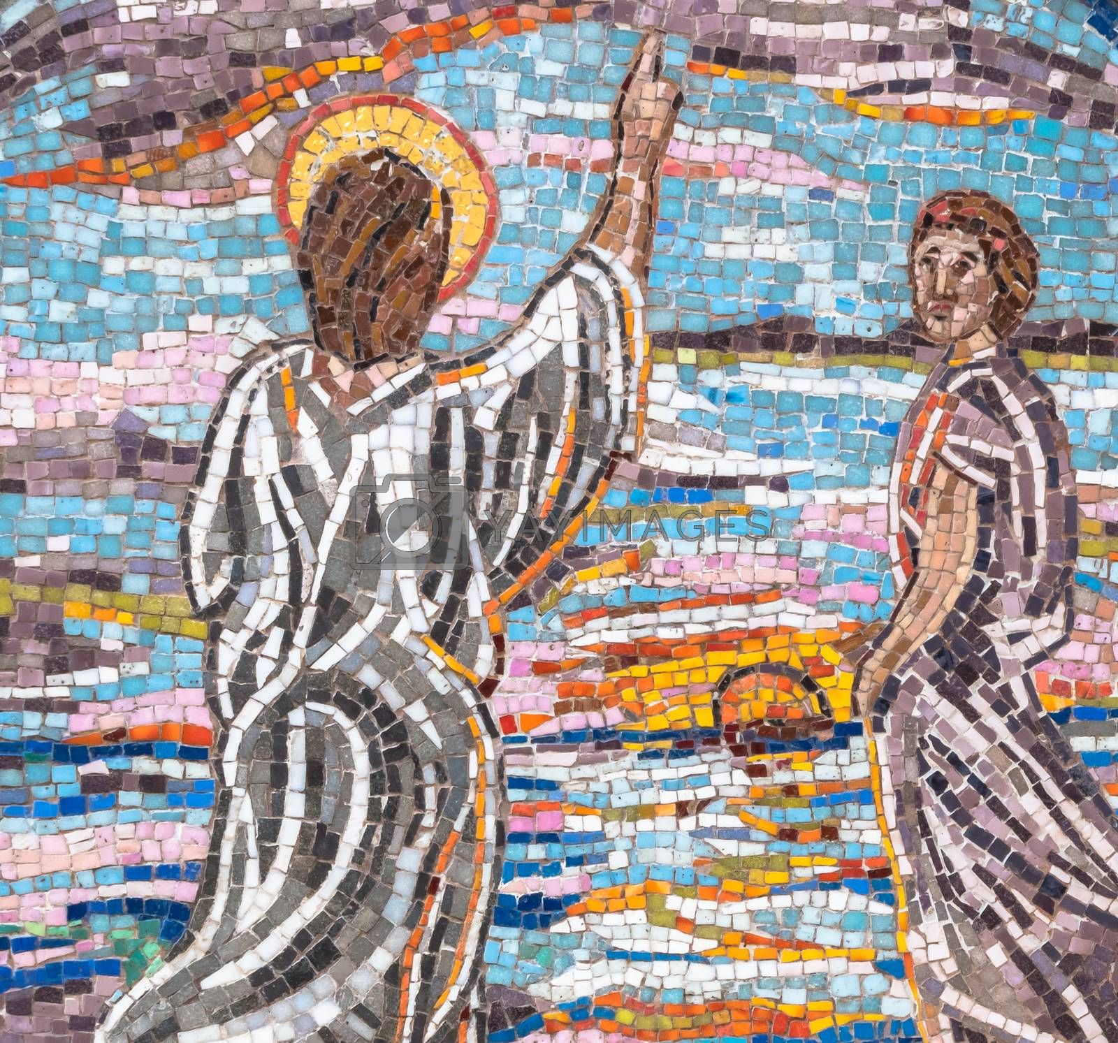 Mosaic of Jesus Christ which indicates the right path to follow. Ideal for concepts, festivity and backgrounds.