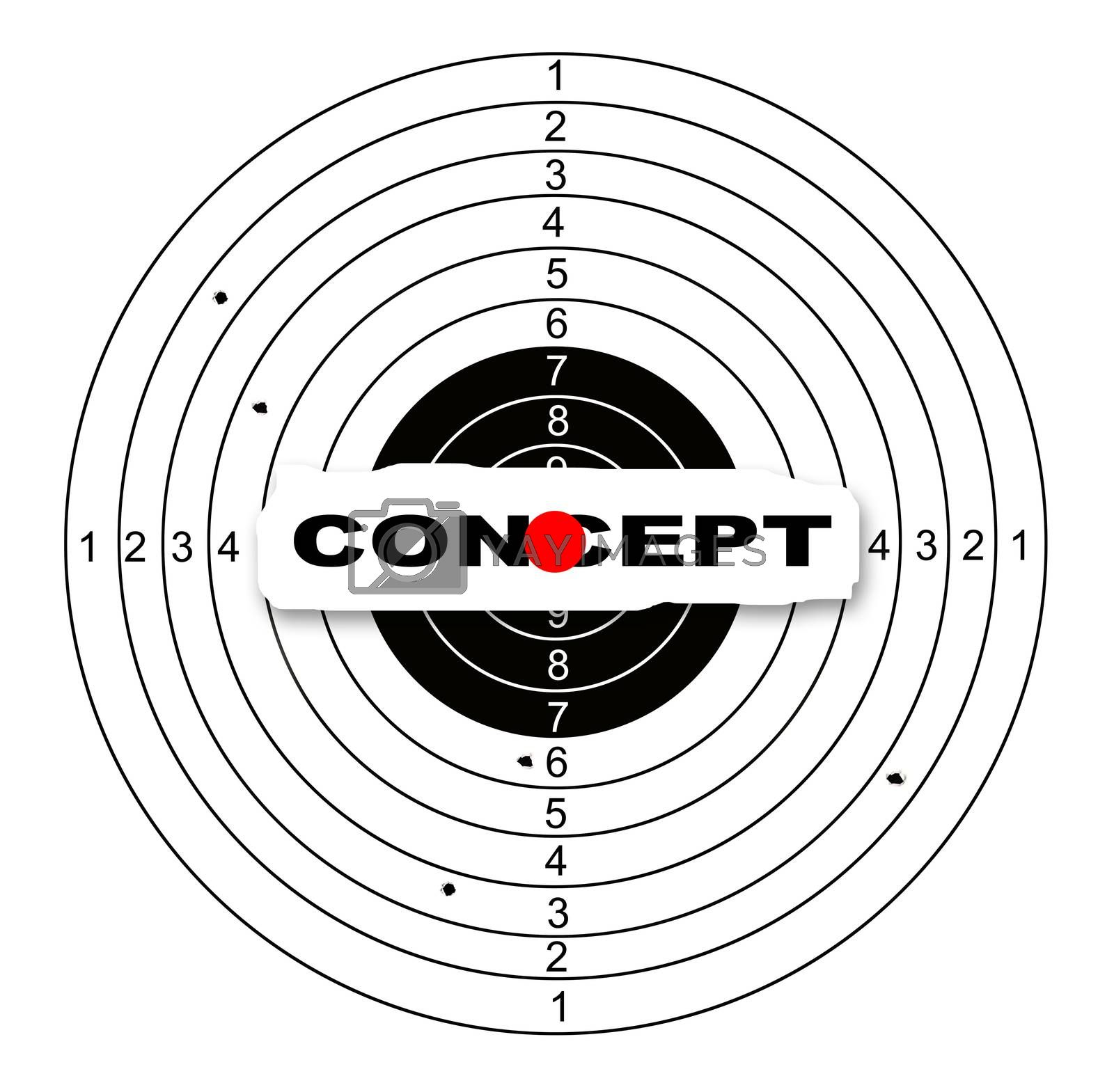 Shooting target with word concept made in 2d software