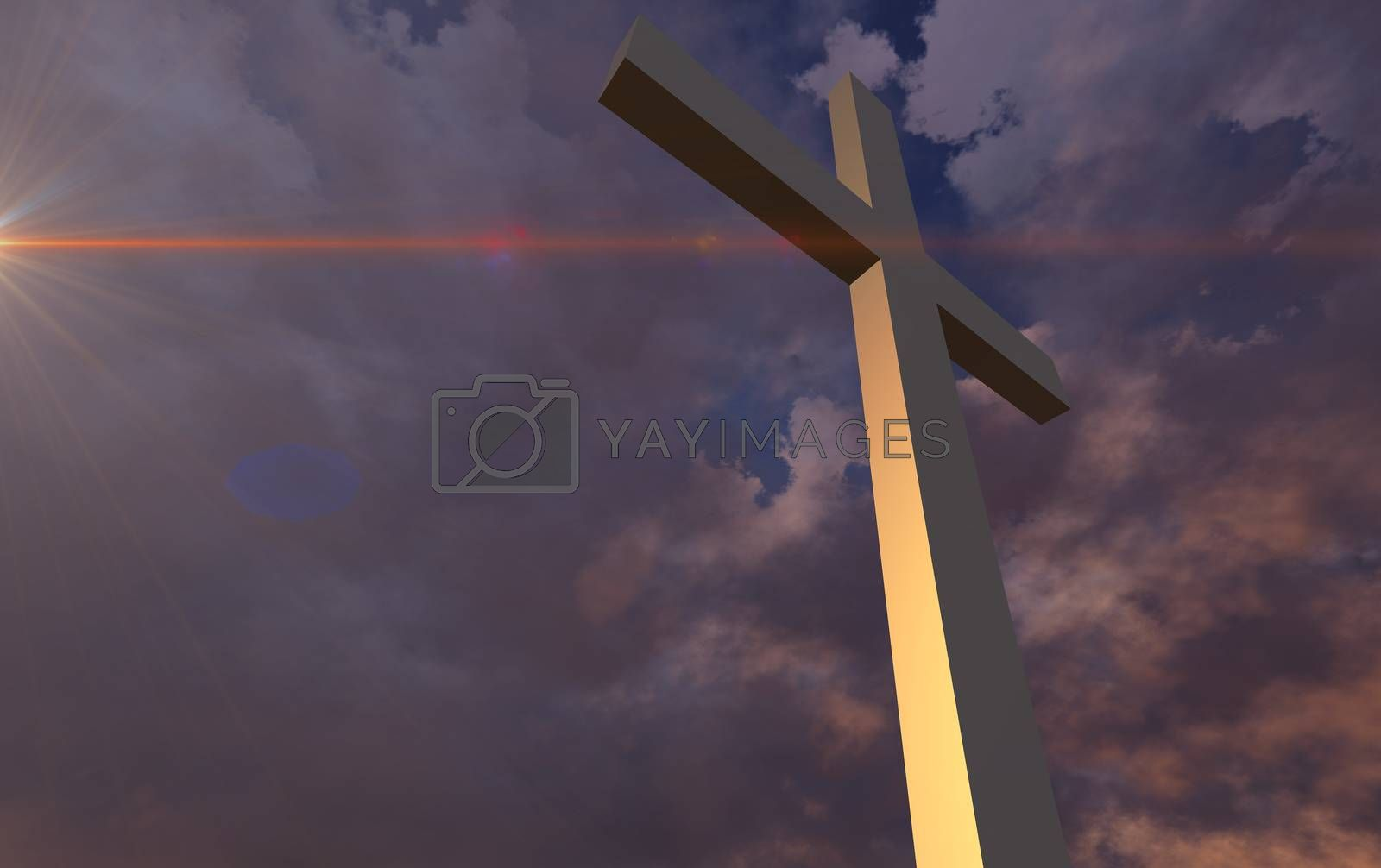 Wooden cross in night1