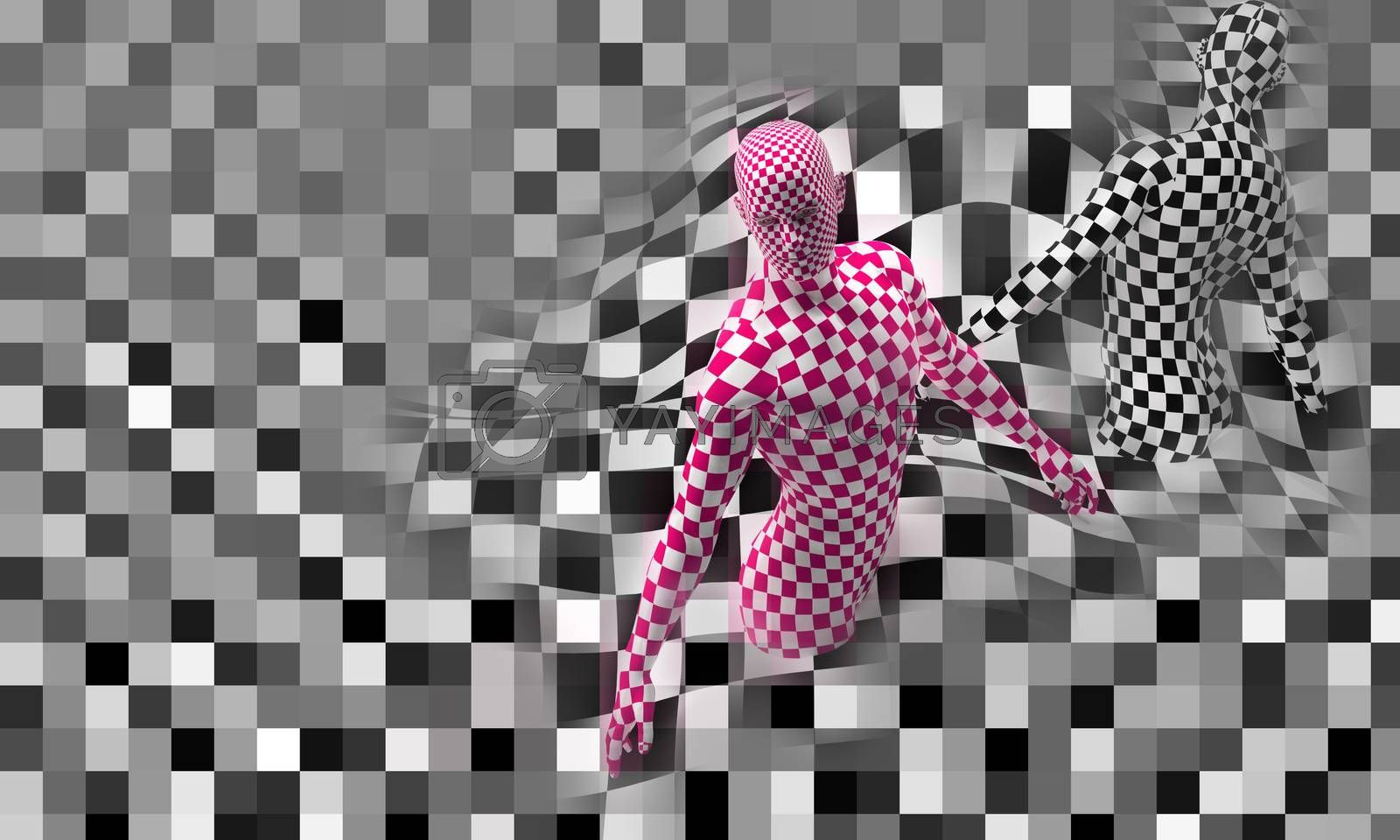 Checkered composition with Black end Red checkered people made in 3d