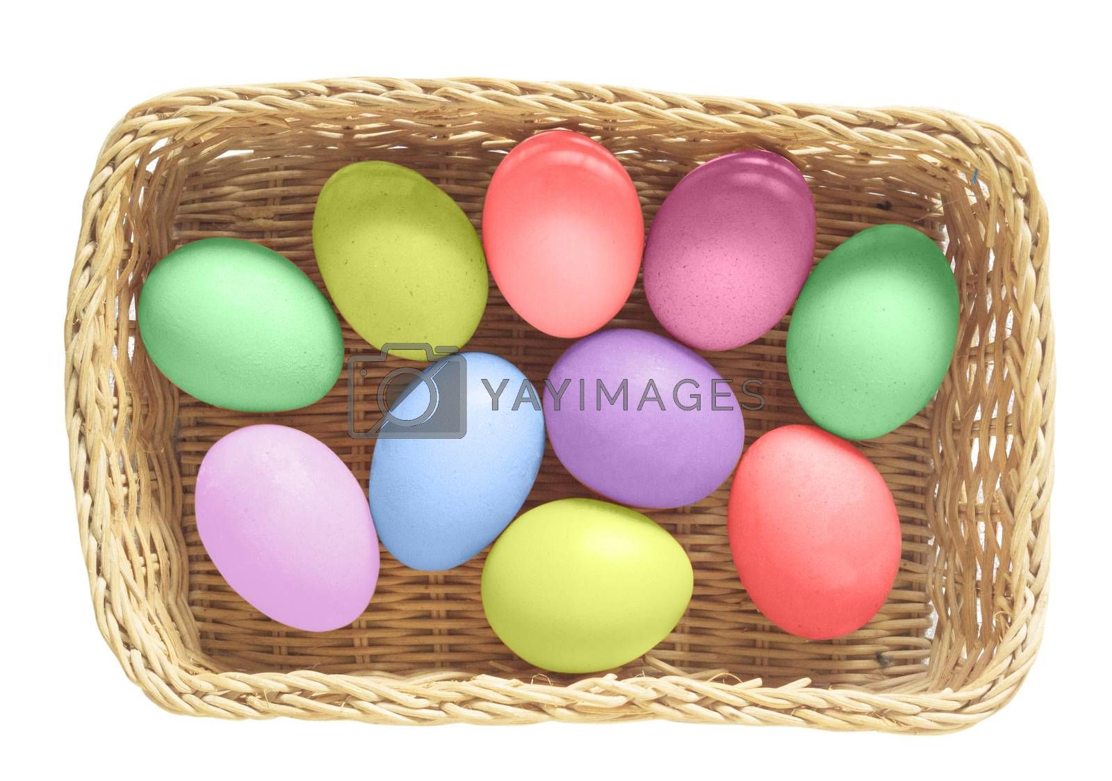 Colorful Easter Eggs in basket on white background  with clipping path