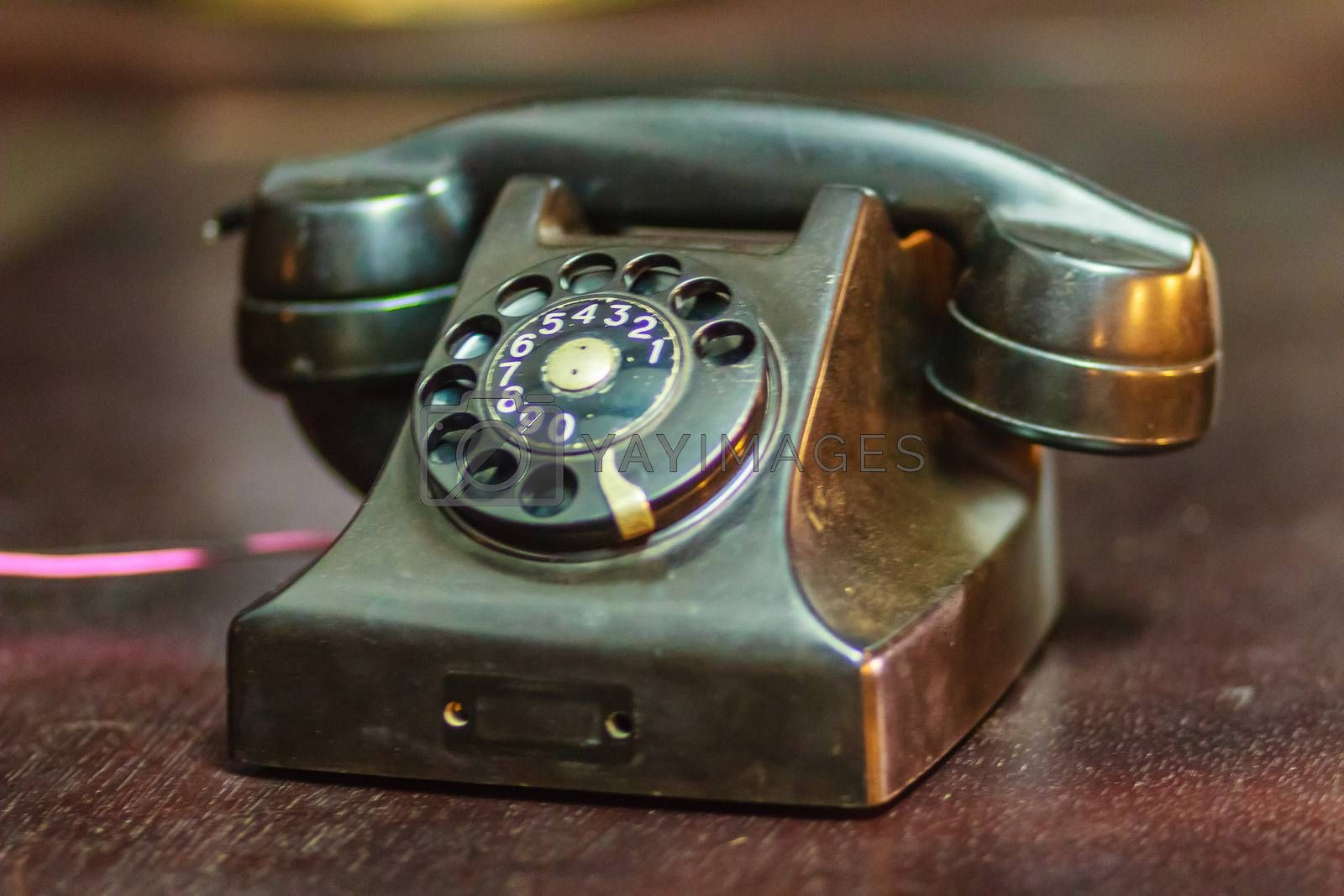Royalty free image of Vintage old rotary telephone. Antique rotary telephone collectio by kwhisky