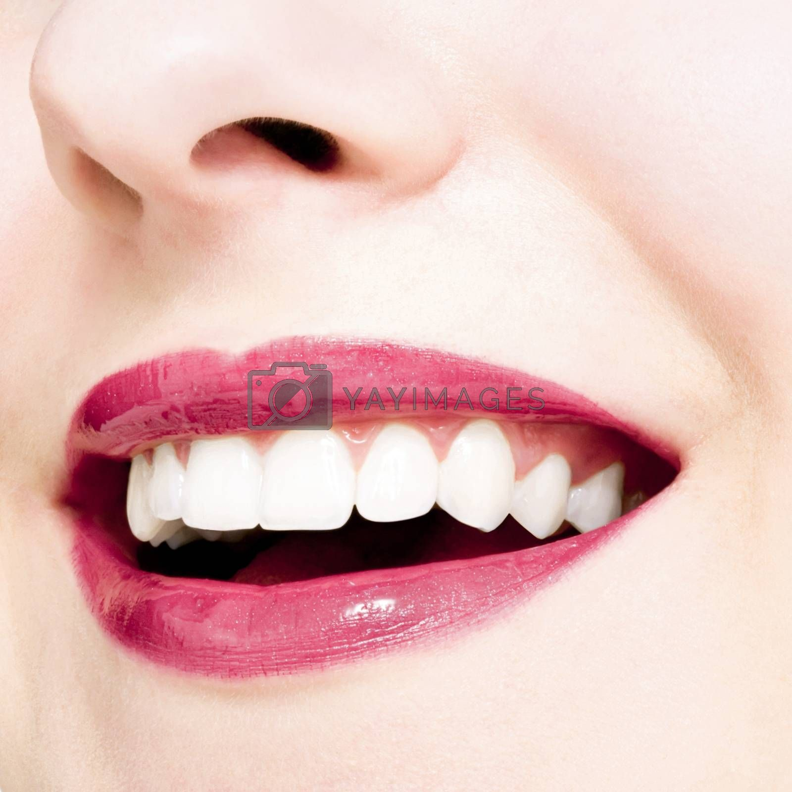 Perfect smile and healthy white natural teeth, happy smiling for dental and beauty ads