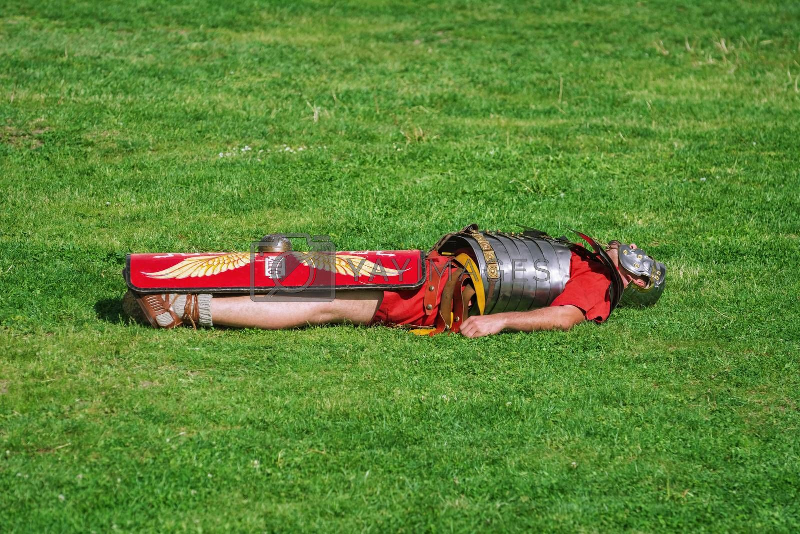 "Alba Iulia, Romania - May 04, 2019: Defeated Roman Legionary During the Festival Roman Apulum ""Revolta""."