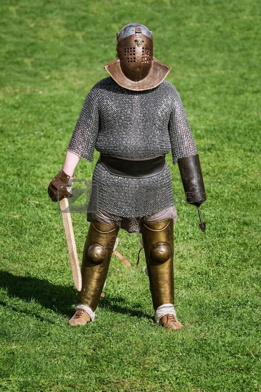 """Alba Iulia, Romania - May 04, 2019: Gladiator of the Roman Empire Posing During the Festival Roman Apulum """"Revolta""""."""