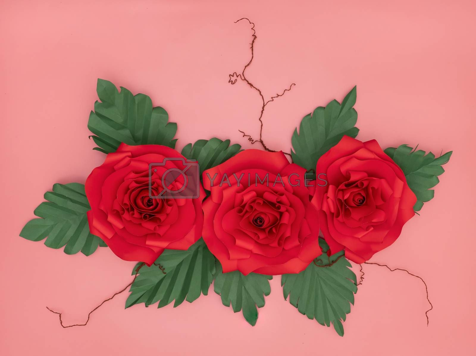 Red paper roses by Nawoot