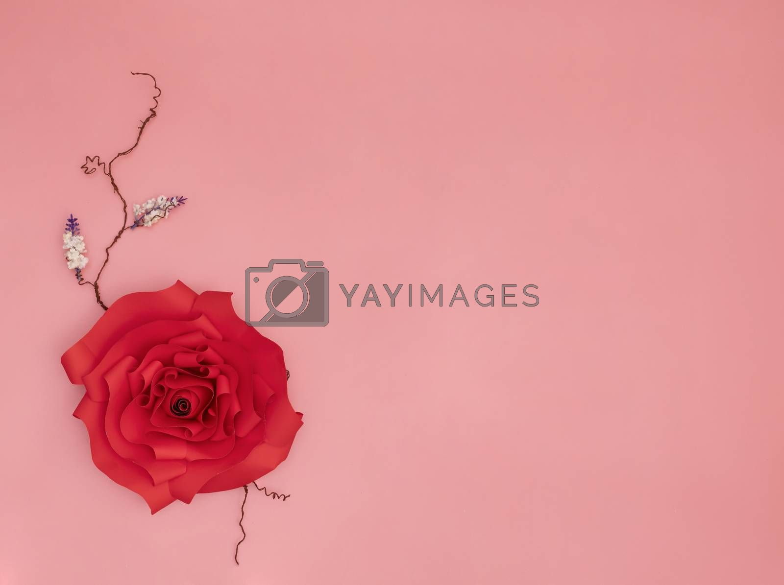 red paper rose by Nawoot