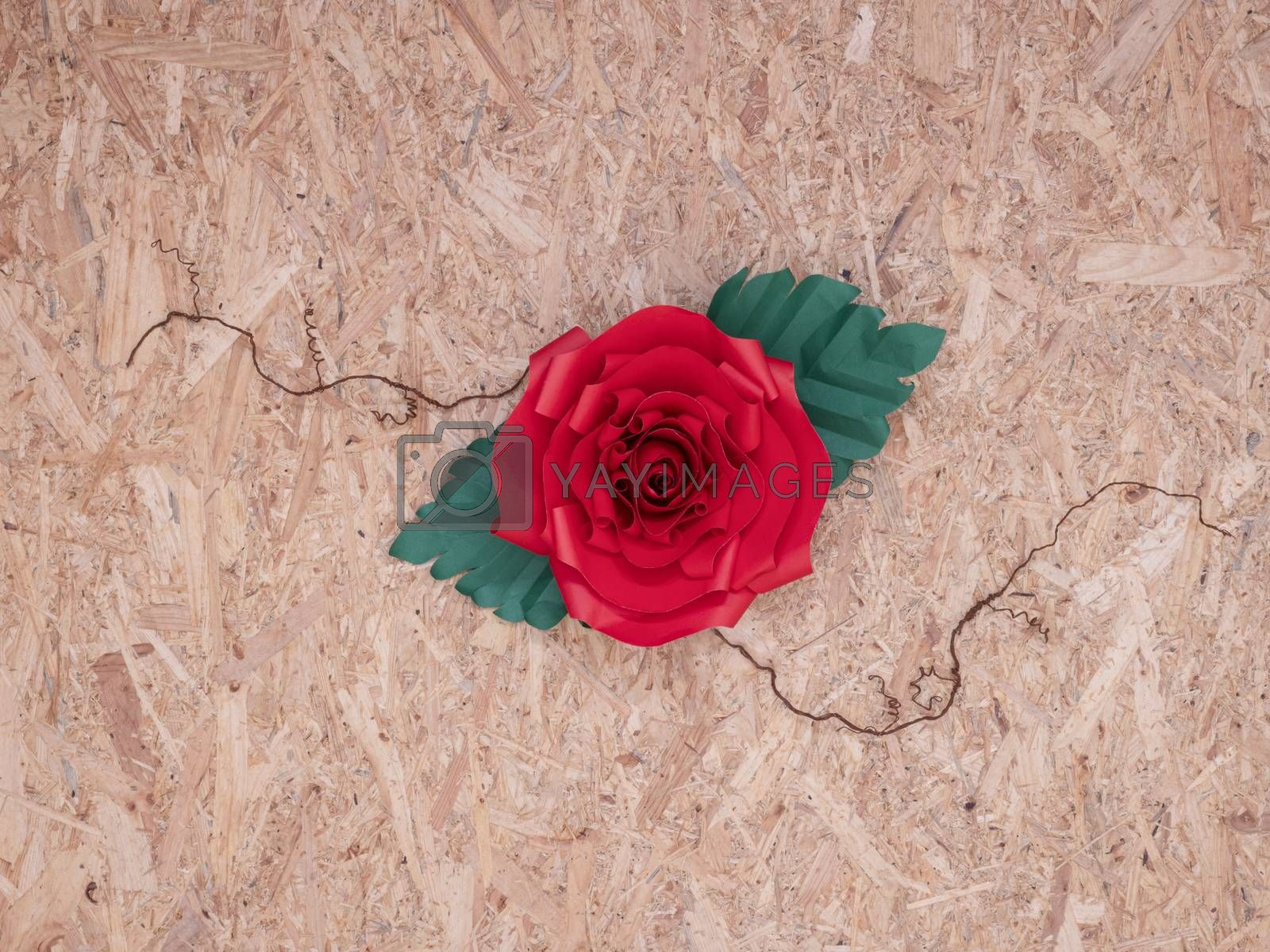 beautiful hand-crafted paper red rose by Nawoot