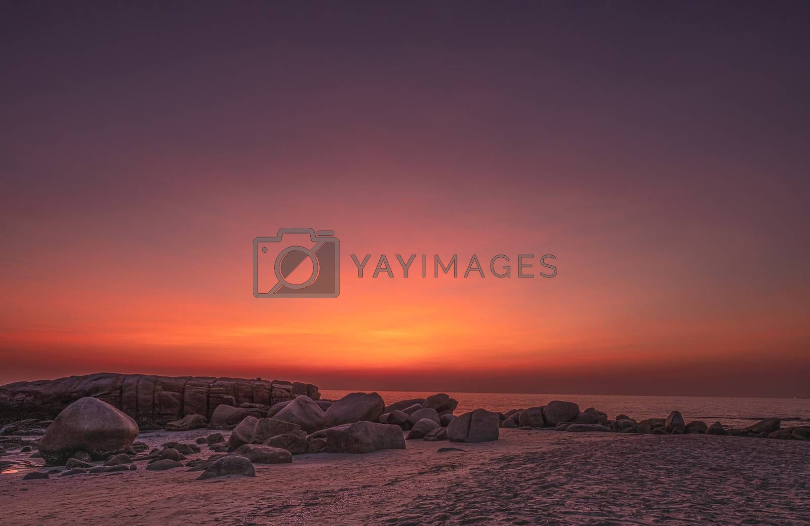A beautiful display of light in the sky just after sunsetting over Rayong beach in Eastern Thailand.