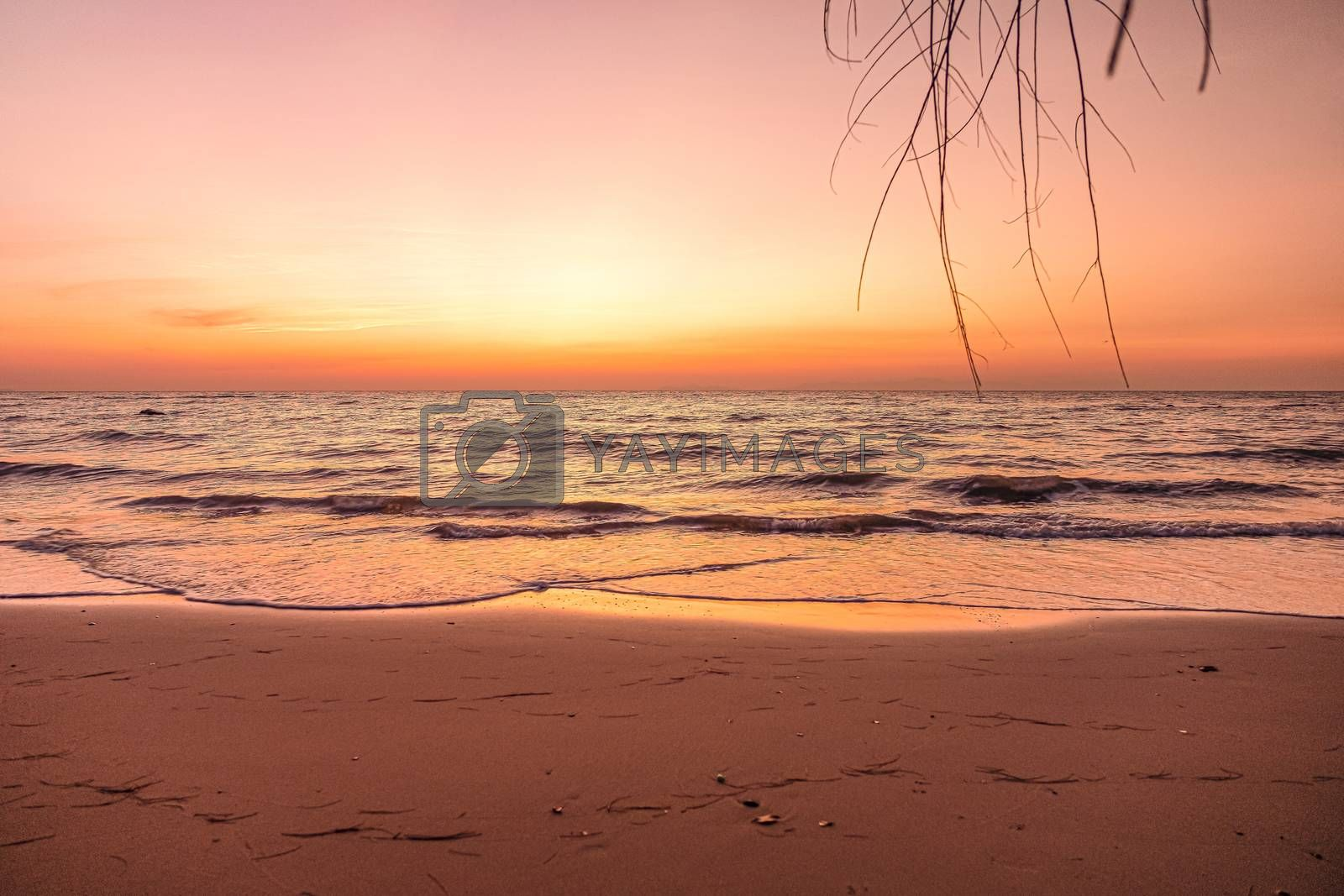A beautiful display of light in the sky just after sunsetting over Trat beach in Eastern Gulf of Thailand.