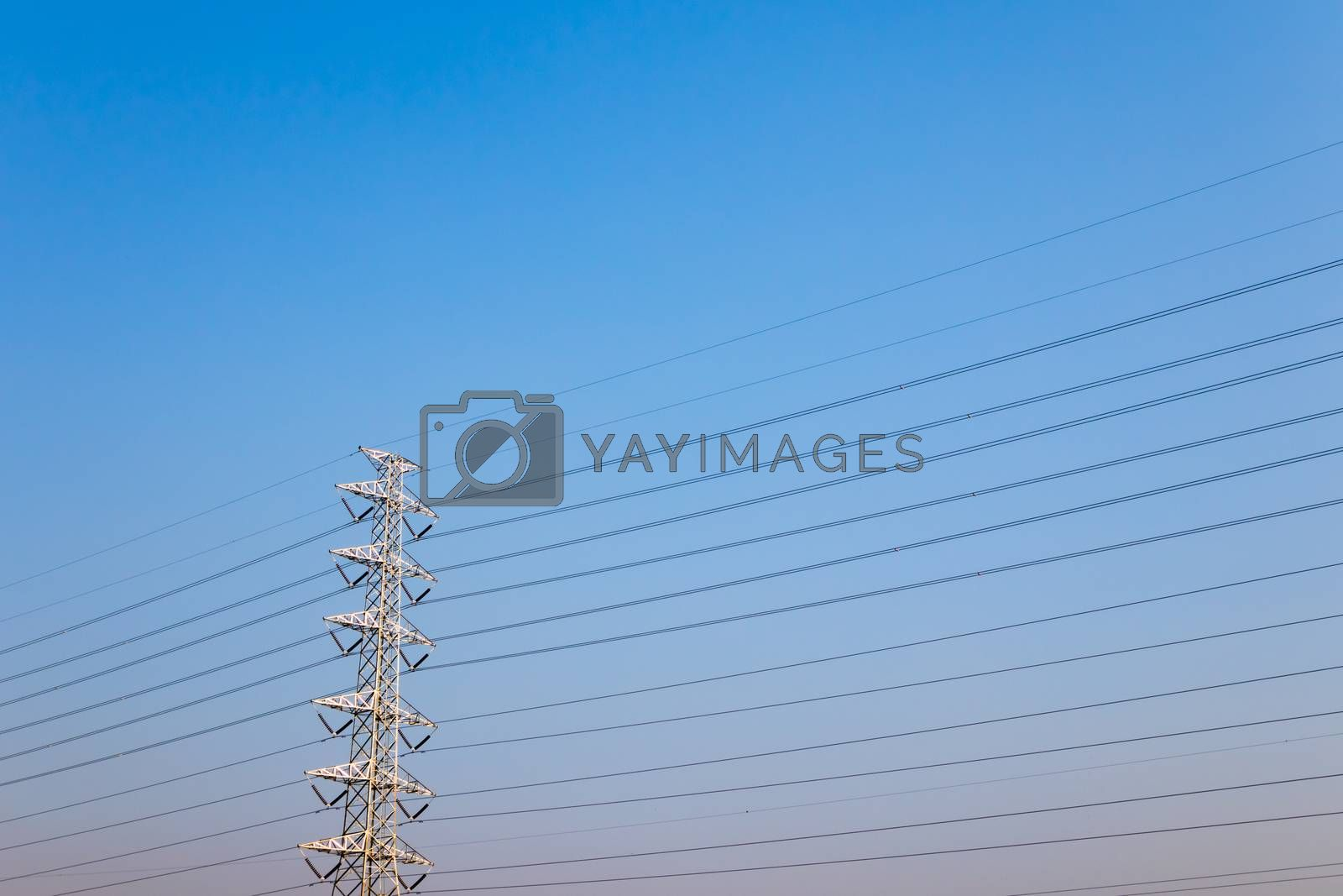 High voltage post,High voltage tower on clear blue sky background
