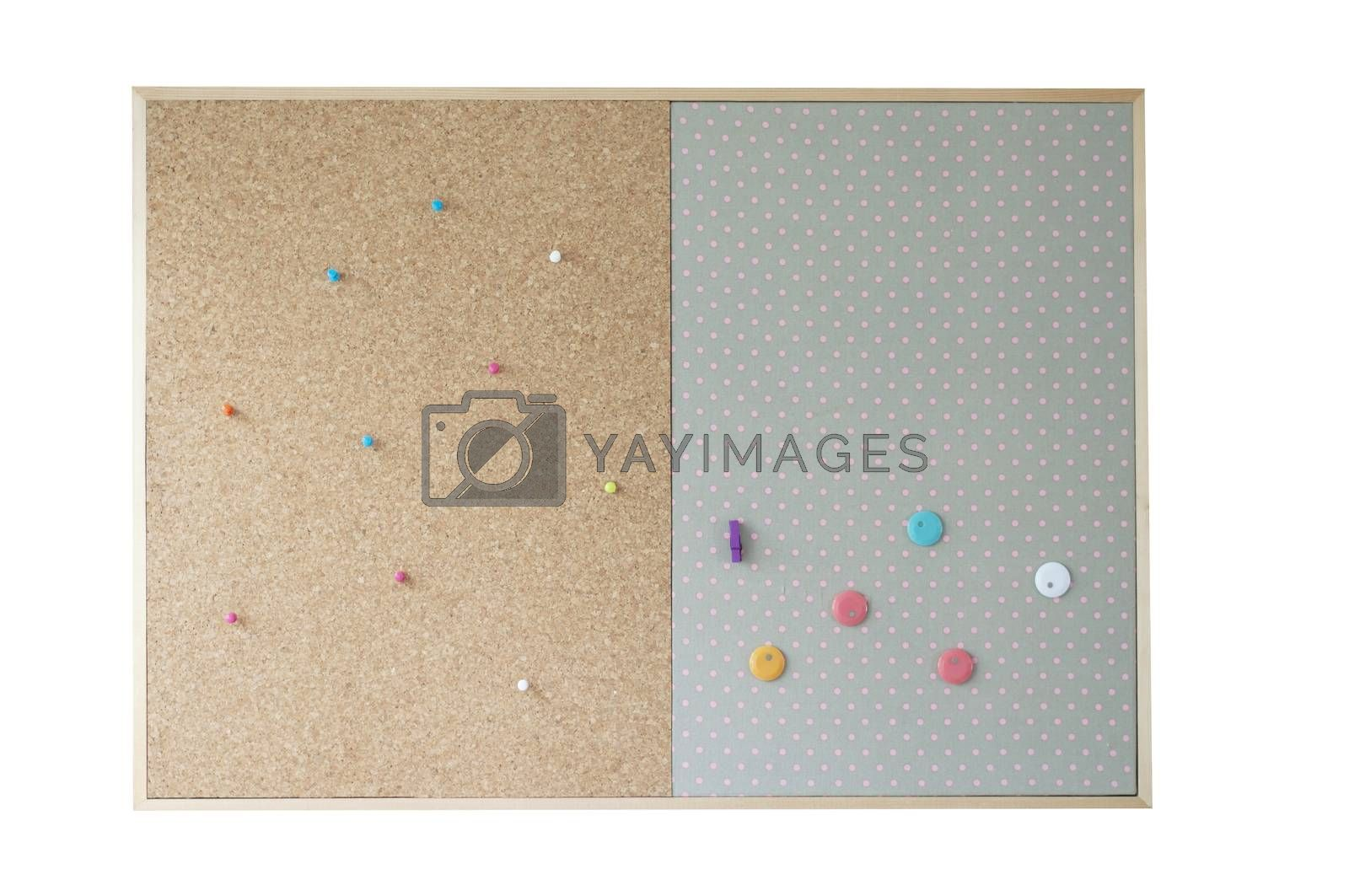 blank cork board with colorful pin on isolate background by Kingsman911