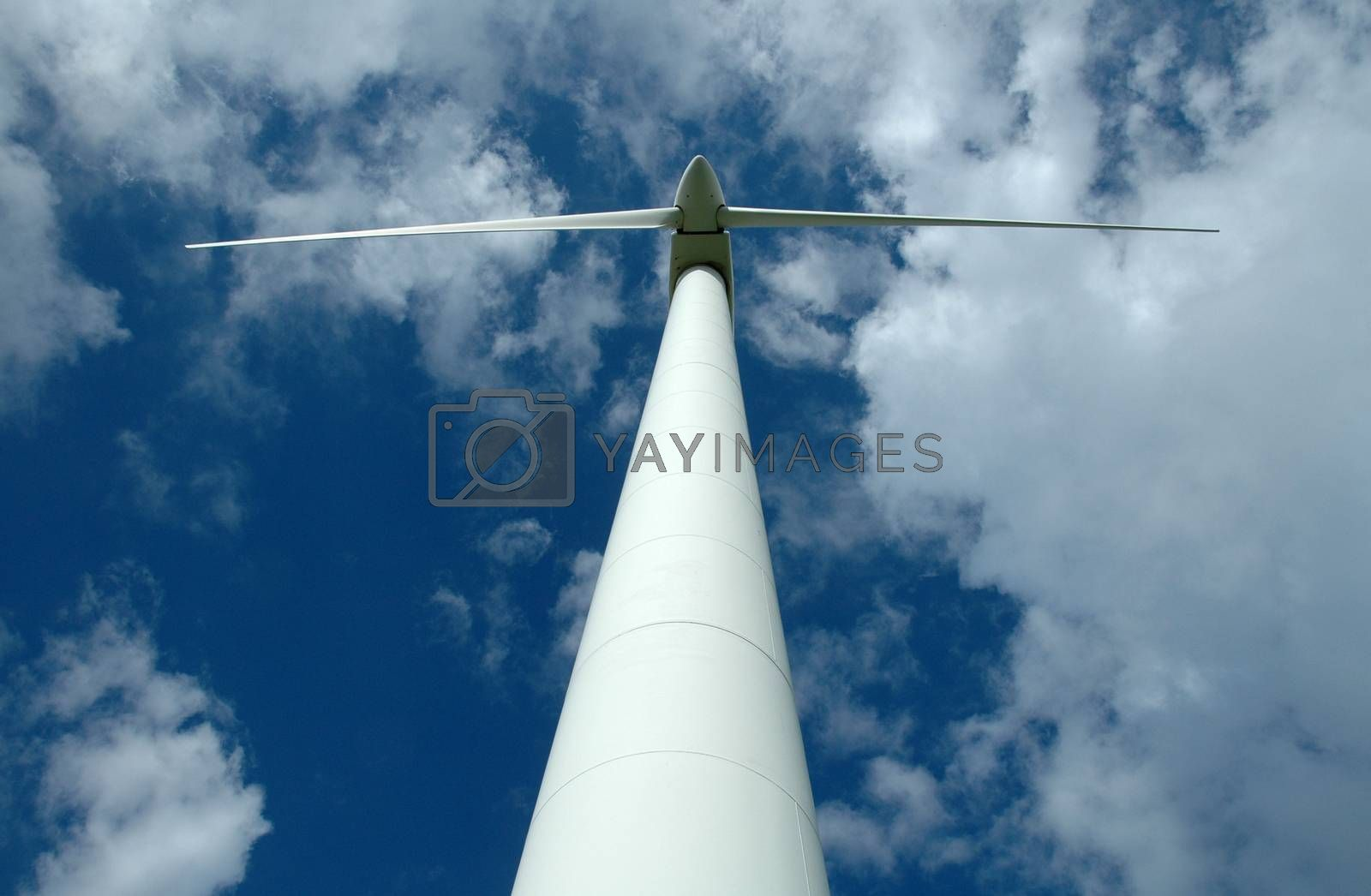 A view of a white wind generator from the ground