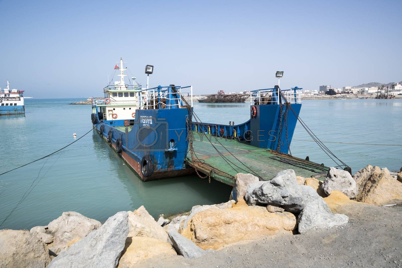 Ferries at Hilf Harbor early morning, Masirah Island, Sultanate of Oman