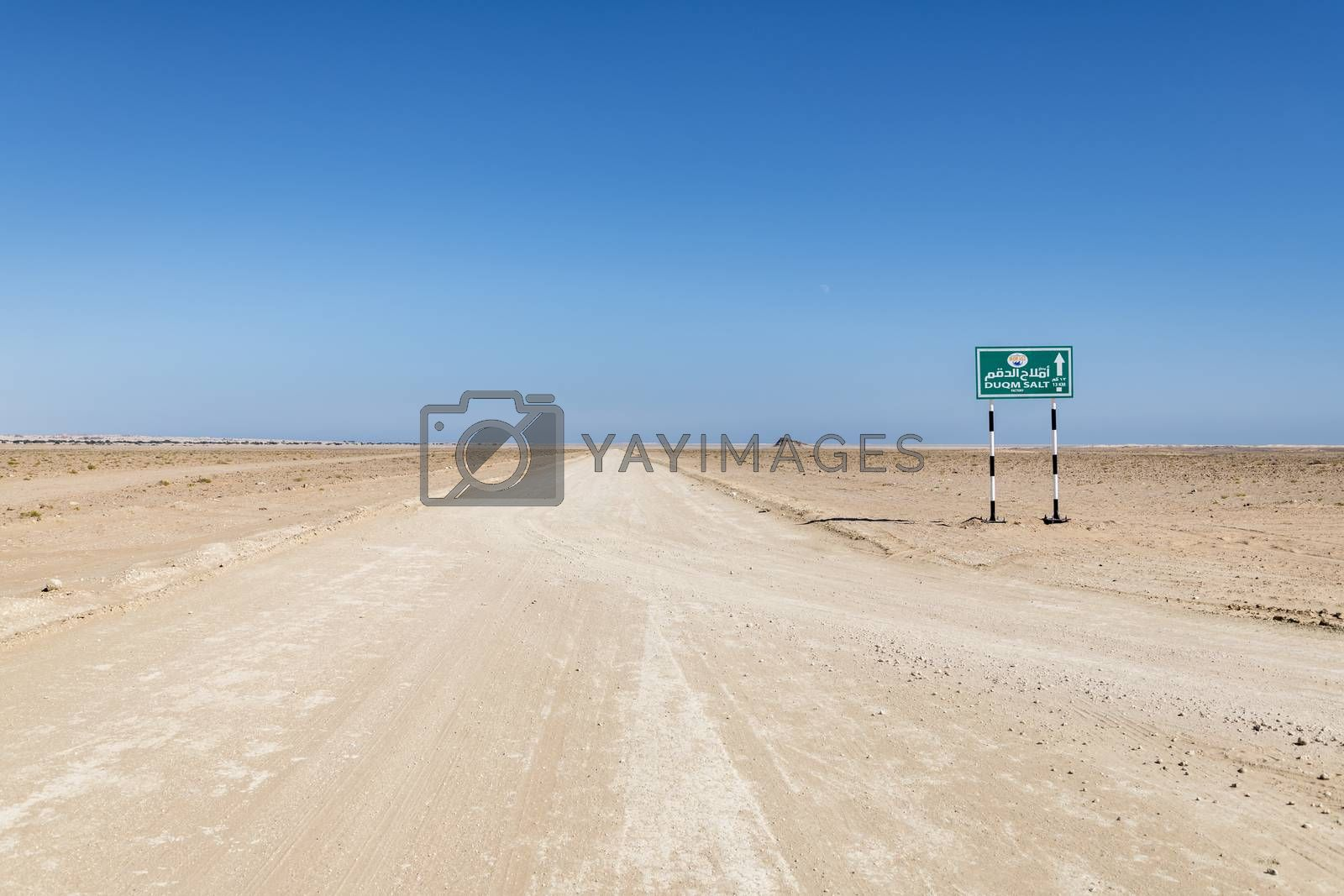 Track going to a Salt Factory near the indian ocean, Duqm, Sultanate of Oman