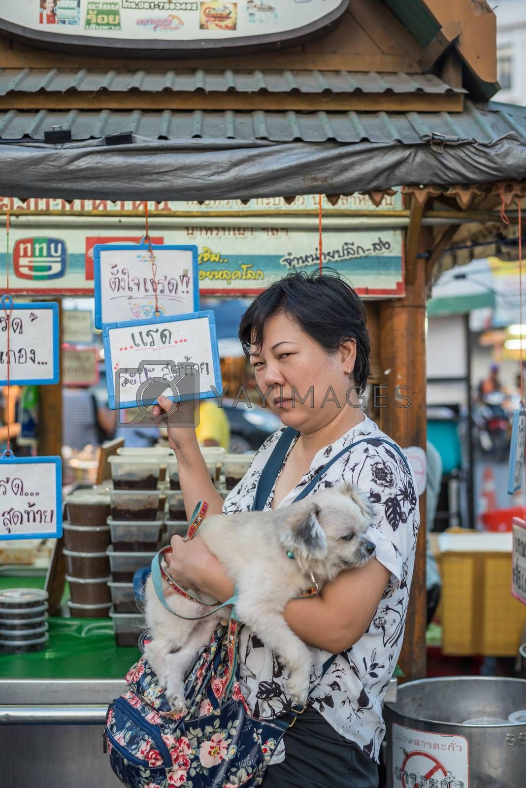 Hua Hin night market with woman and the dog by PongMoji