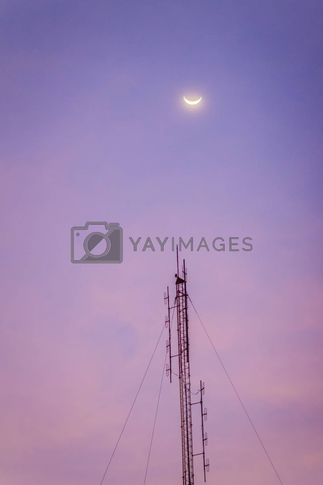 Royalty free image of View of the moon on the dusk sky and the folded dipole radio ant by kwhisky