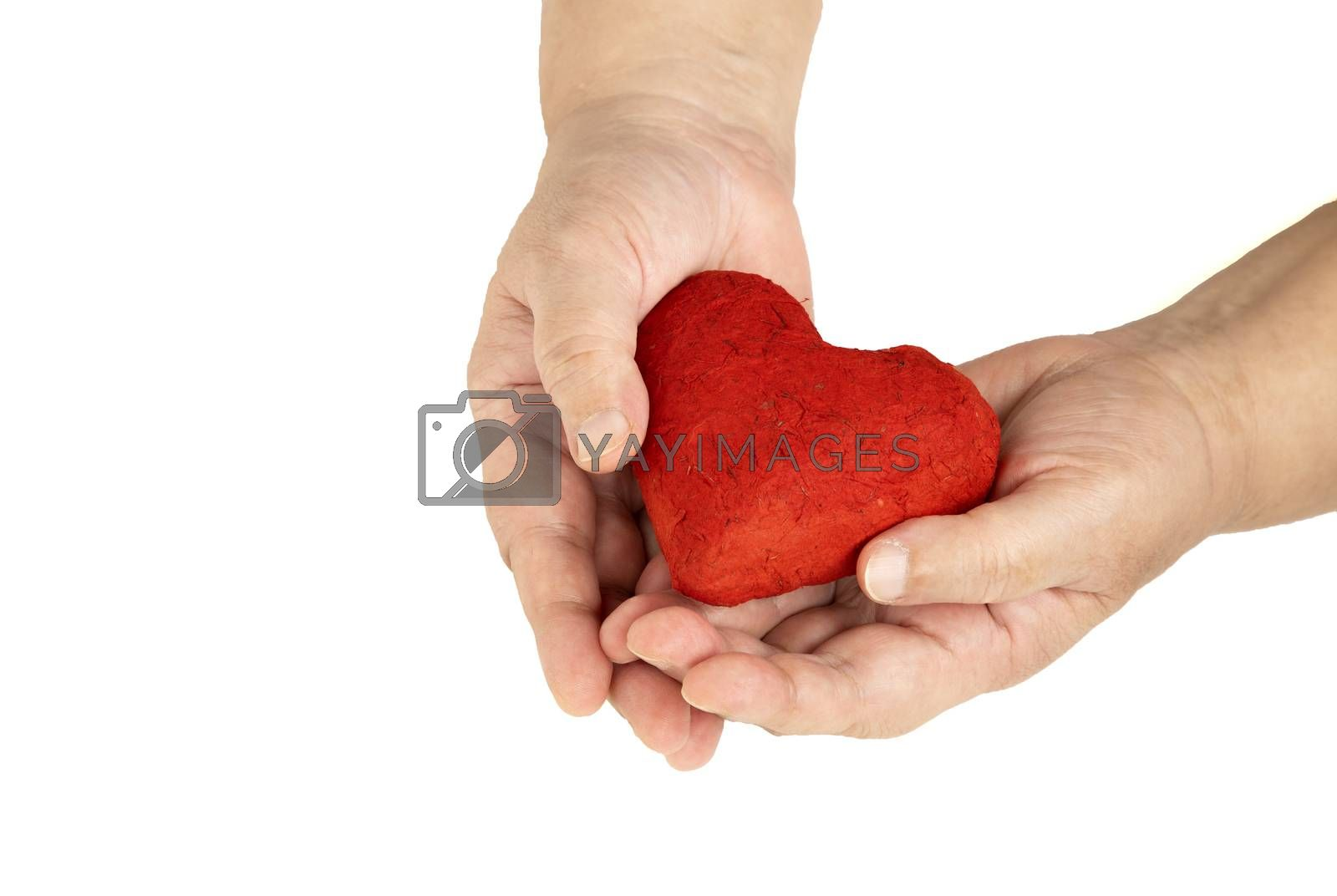hands and a red heart by Nawoot