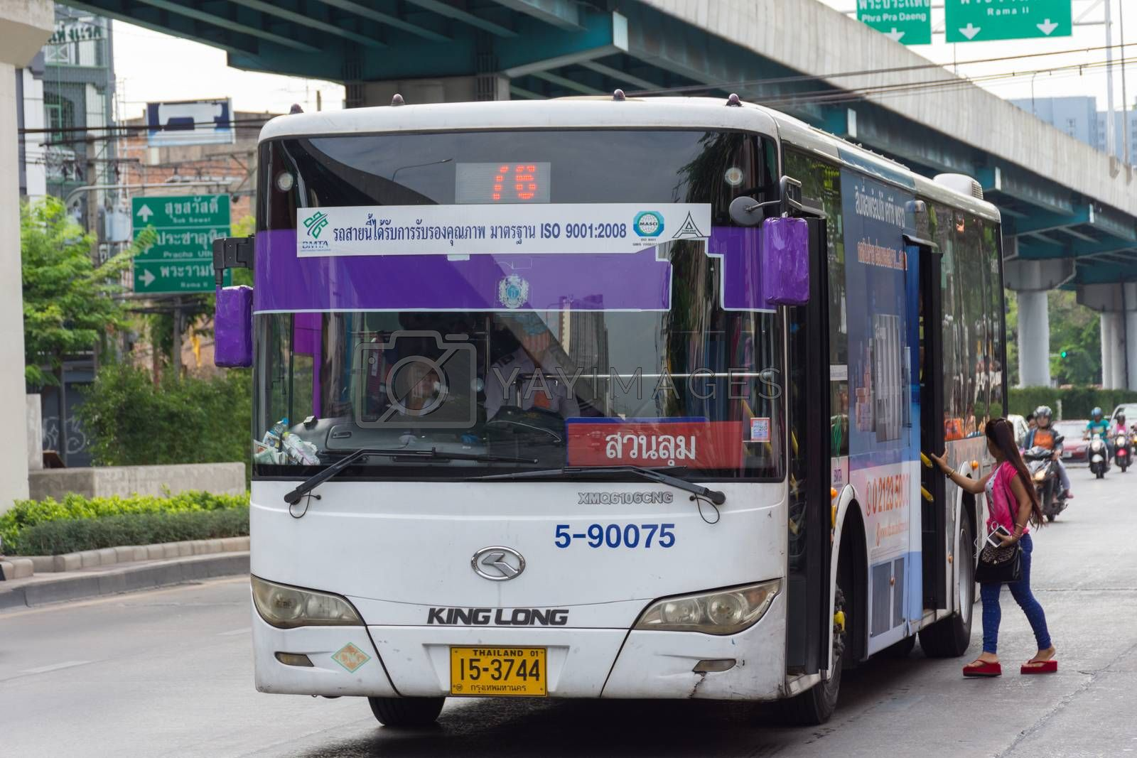 Bangkok, Thailand - May 28, 2016 : Unidentified people travel by bus in Bangkok. Buses are one of the most important public transport system in Bangkok.