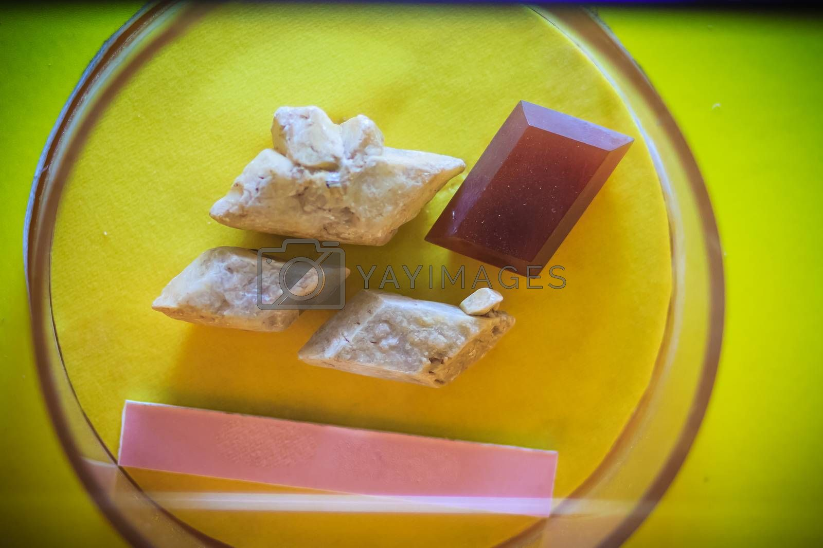 Gypsum rock specimen from mining and quarrying industries. Gypsum is a soft sulfate mineral composed of calcium sulfate dihydrate.