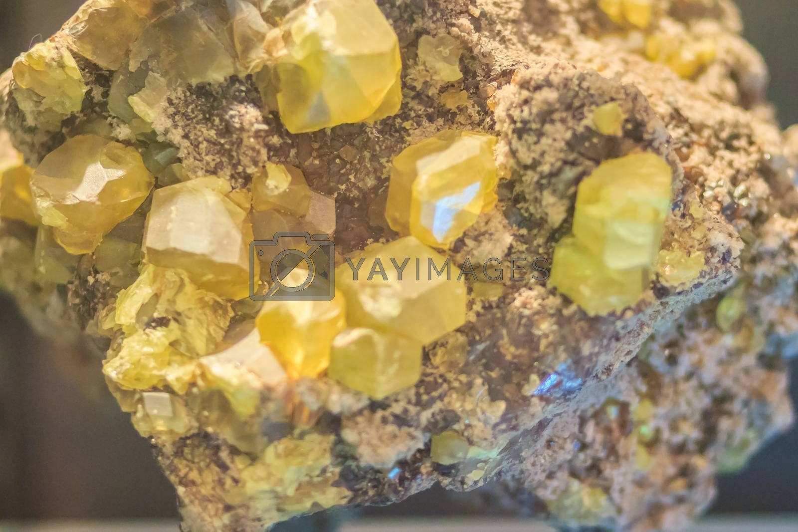 Sulphur crystal granular habit rock specimen from mining and quarrying. Sulfur or sulphur is a chemical element with symbol S and atomic number 16. It is abundant, multivalent, and nonmetallic.