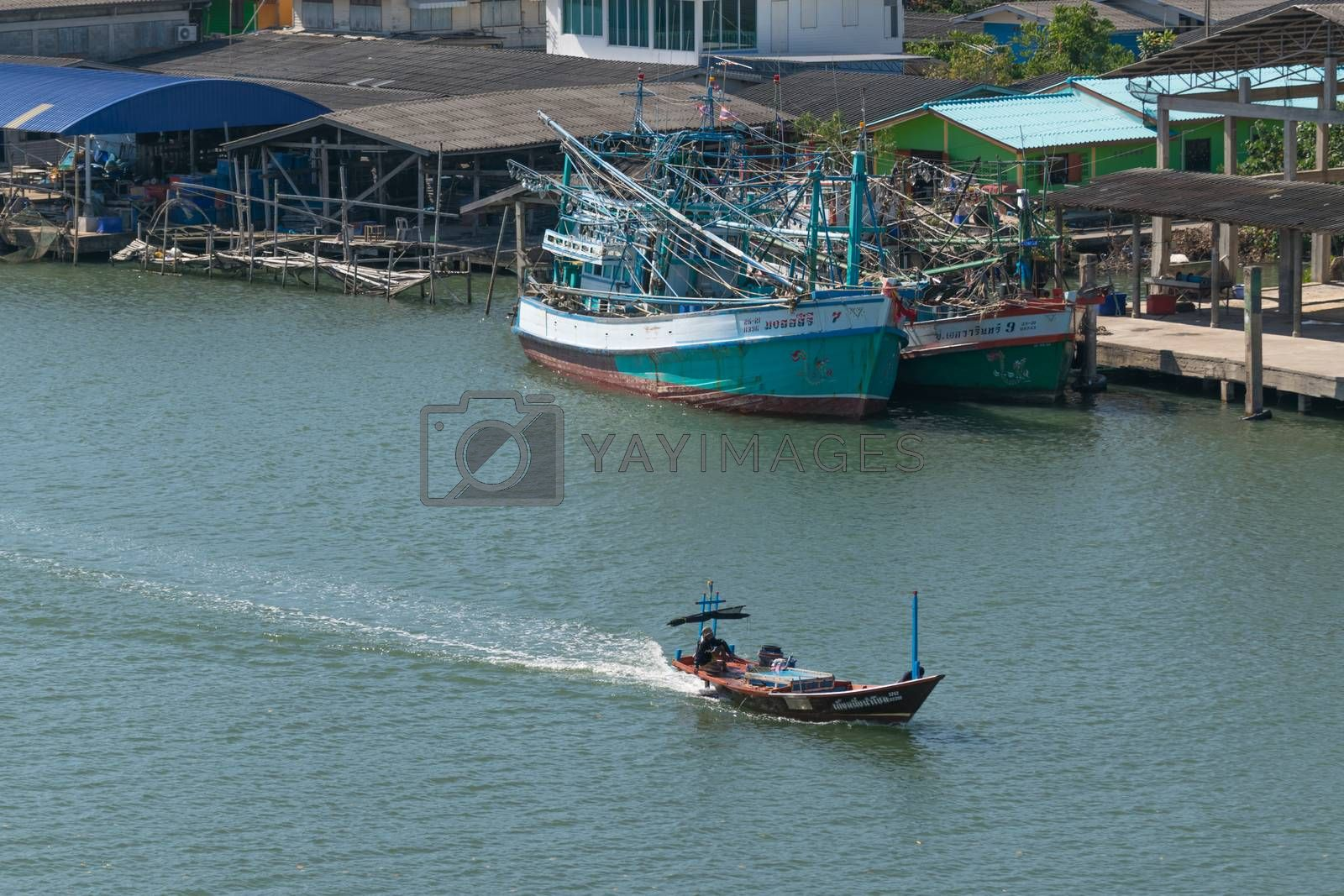 Chanthaburi, Thailand - December 31, 2015 : Unidentified fishing boat is out fishing. Fishermen is a career that has been popular in the seaside city of Thailand.
