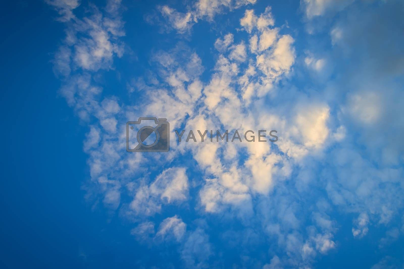 Blue sky with white clouds in the afternoon. The vast blue sky and unusual shapes clouds on sky at afternoon time.