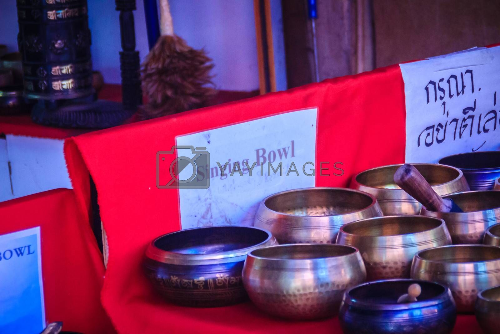 Tibetan singing bowls for sale at the antique market. Singing bo by kwhisky