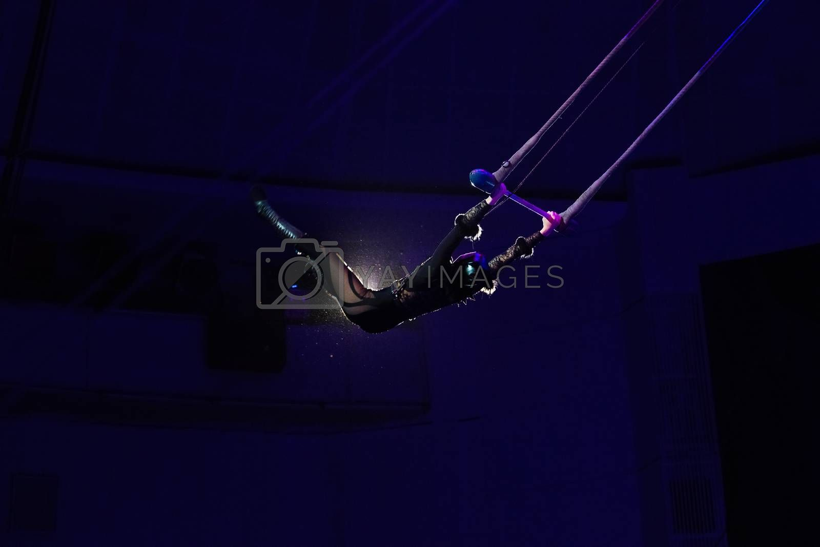 Air acrobat in the circus by Serg