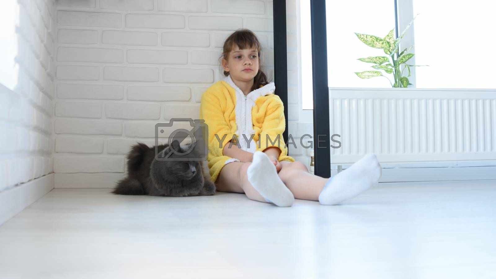 An upset girl in a yellow bathrobe sits in the corner of the room, a dark gray domestic cat sits nearby by Madhourse