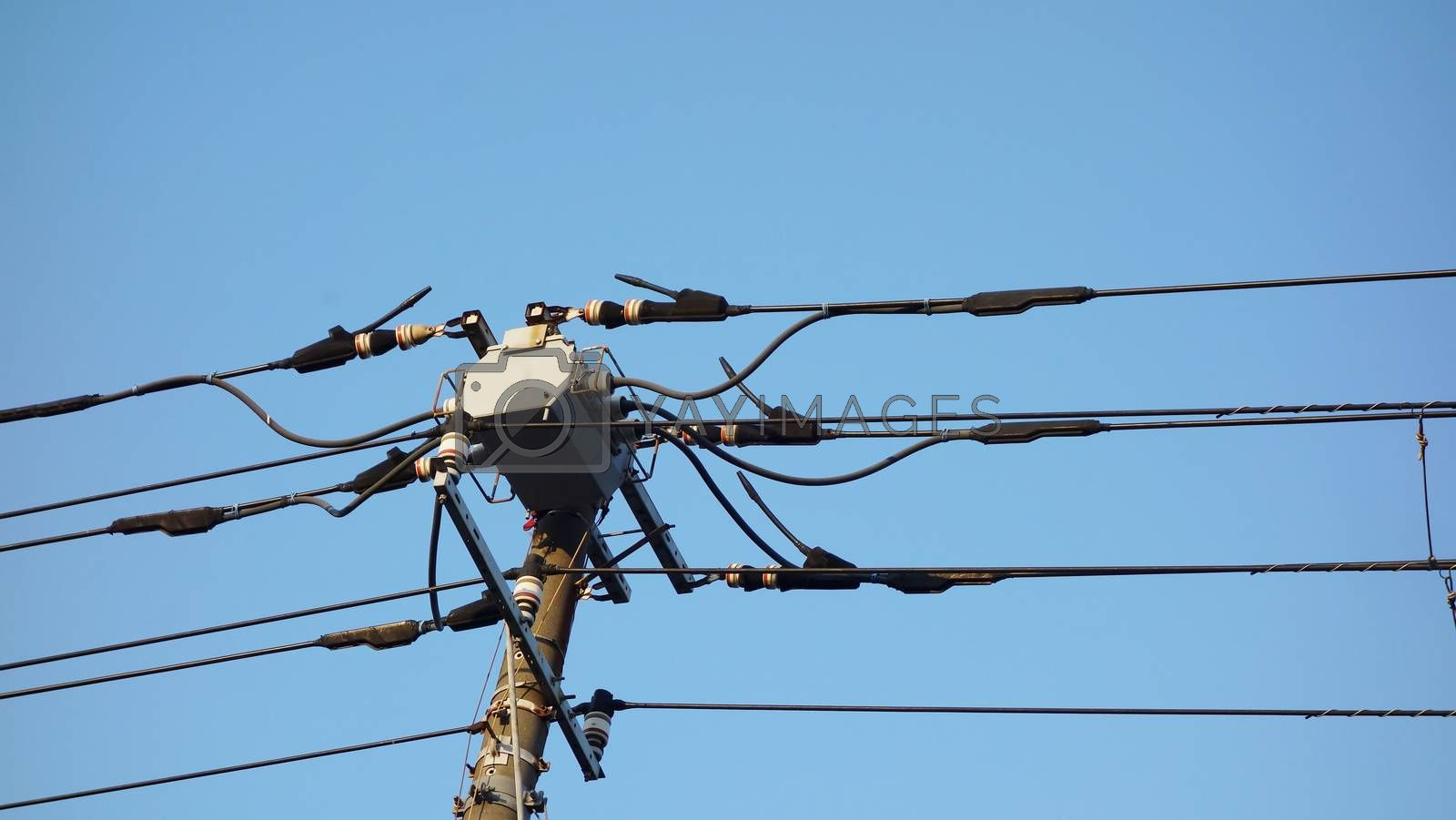 electric pole in Japan with blue sky background by Kingsman911