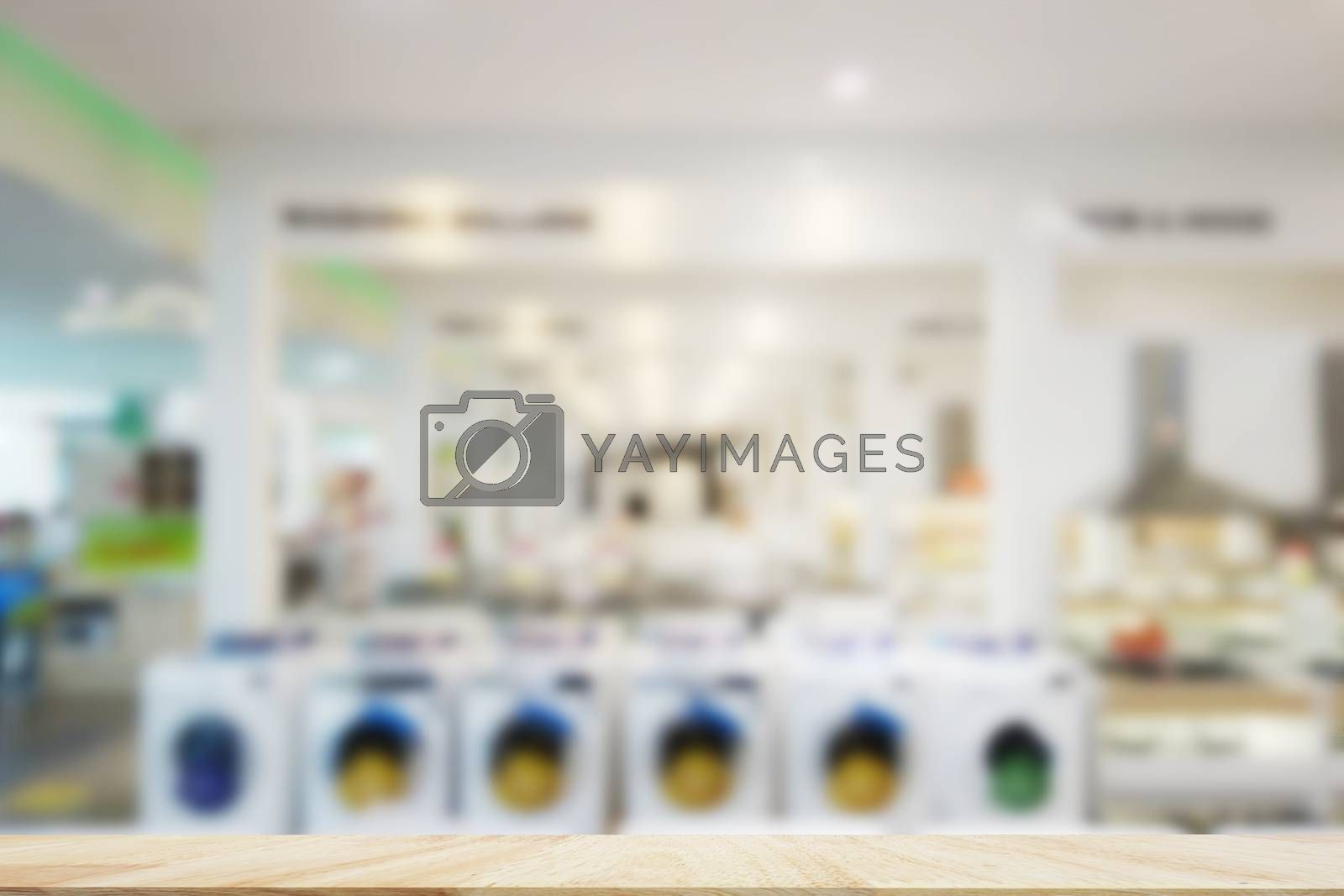 Table Top And Blur Interior electric shopping mall Background
