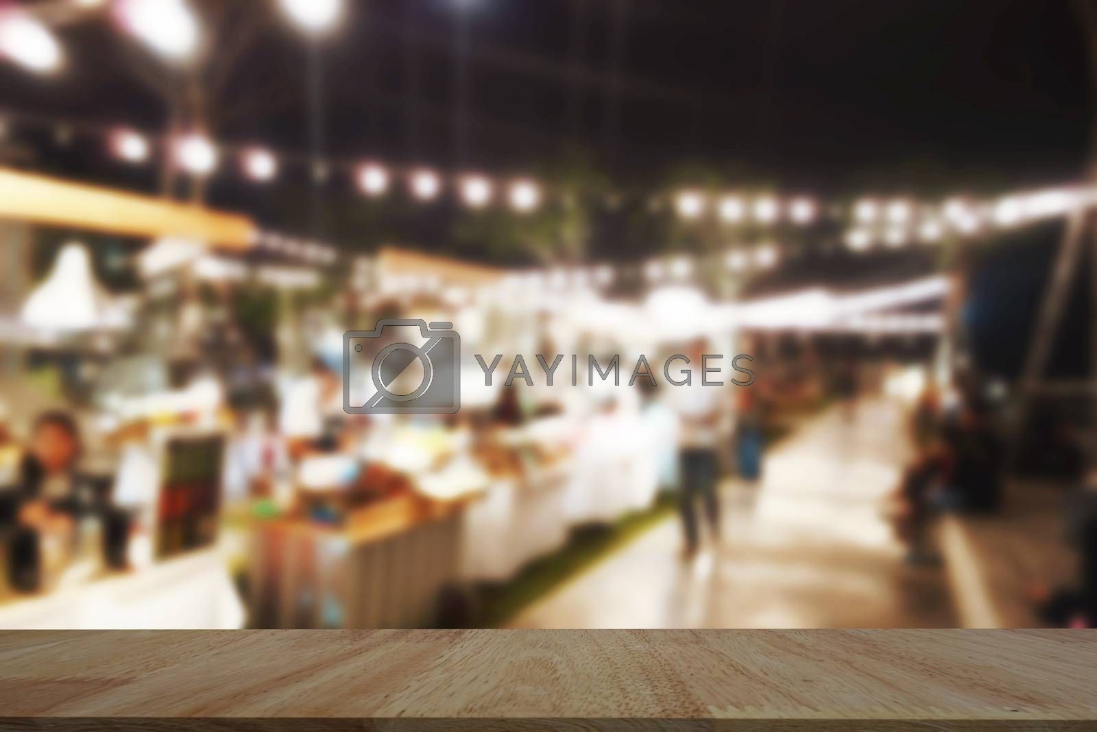 Table Top And Blur restaurant of The night market Background